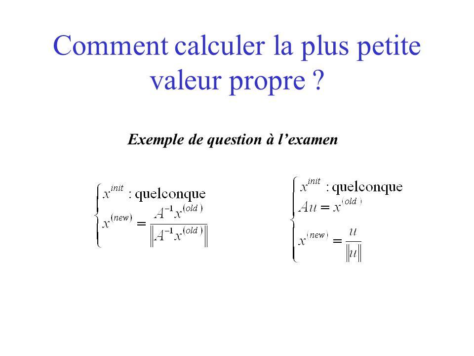 Comment calculer la plus petite valeur propre ? Exemple de question à l'examen