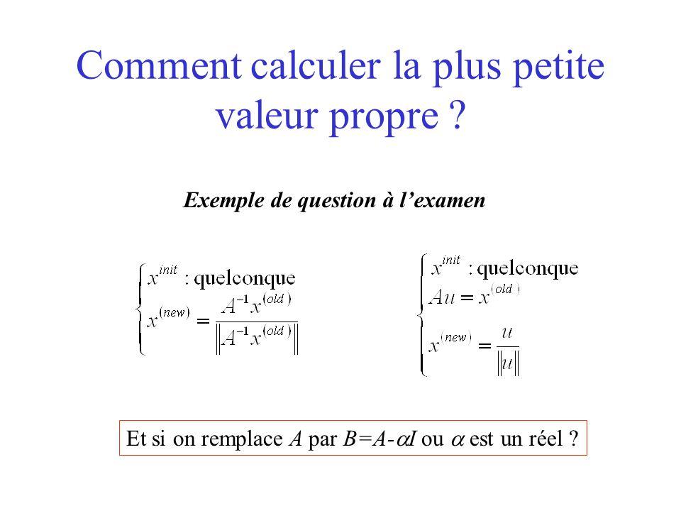 Comment calculer la plus petite valeur propre ? Exemple de question à l'examen Et si on remplace A par B=A-  I ou  est un réel ?
