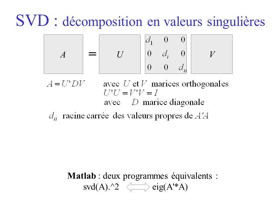 SVD : décomposition en valeurs singulières Matlab : deux programmes équivalents : svd(A).^2 eig(A'*A) AUV =