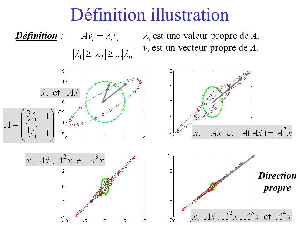 Définition illustration Définition : i est une valeur propre de A, v i est un vecteur propre de A. Direction propre