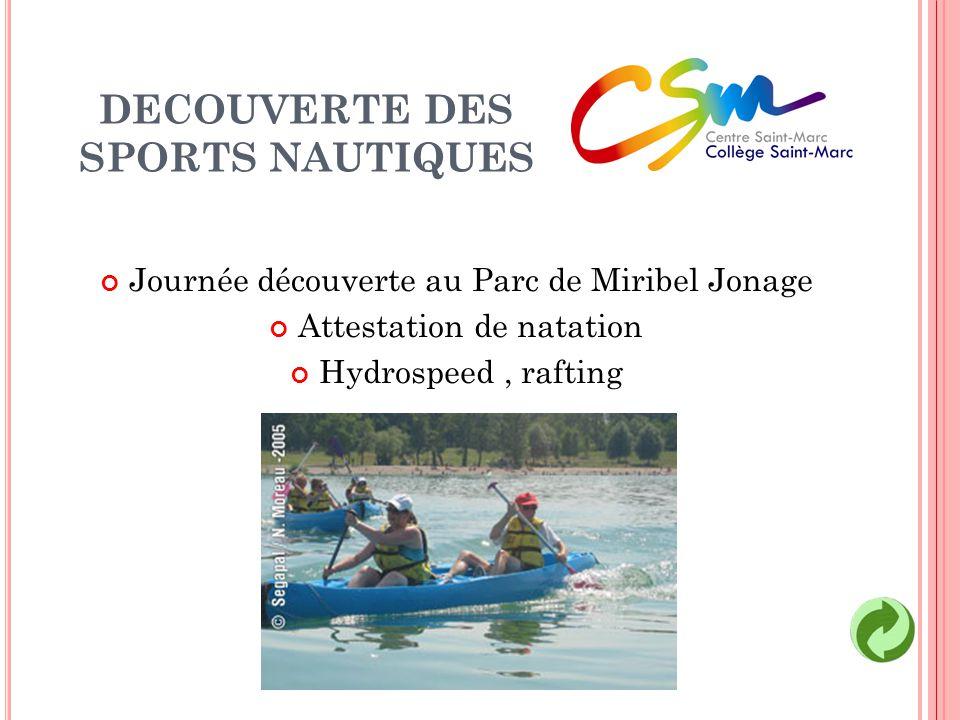 DECOUVERTE DES SPORTS NAUTIQUES Journée découverte au Parc de Miribel Jonage Attestation de natation Hydrospeed, rafting