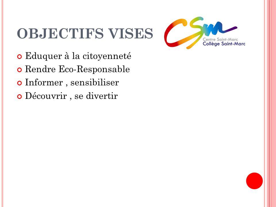 OBJECTIFS VISES Eduquer à la citoyenneté Rendre Eco-Responsable Informer, sensibiliser Découvrir, se divertir
