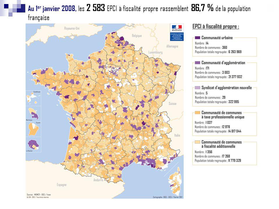 Au 1 er janvier 2008, les 2 583 EPCI à fiscalité propre rassemblent 86,7 % de la population française