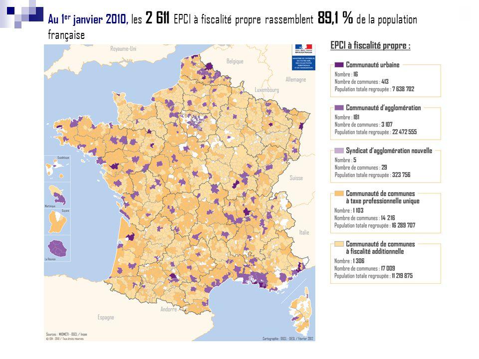 Au 1 er janvier 2010, les 2 611 EPCI à fiscalité propre rassemblent 89,1 % de la population française