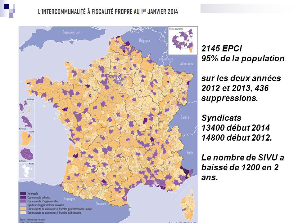 2145 EPCI 95% de la population sur les deux années 2012 et 2013, 436 suppressions. Syndicats 13400 début 2014 14800 début 2012. Le nombre de SIVU a ba