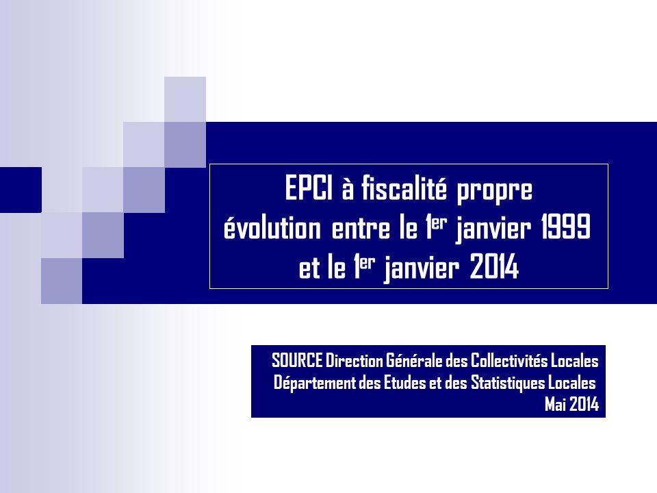 EPCI à fiscalité propre évolution entre le 1 er janvier 1999 et le 1 er janvier 2014 SOURCE Direction Générale des Collectivités Locales Département d