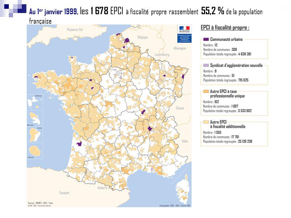 Au 1 er janvier 1999, les 1 678 EPCI à fiscalité propre rassemblent 55,2 % de la population française