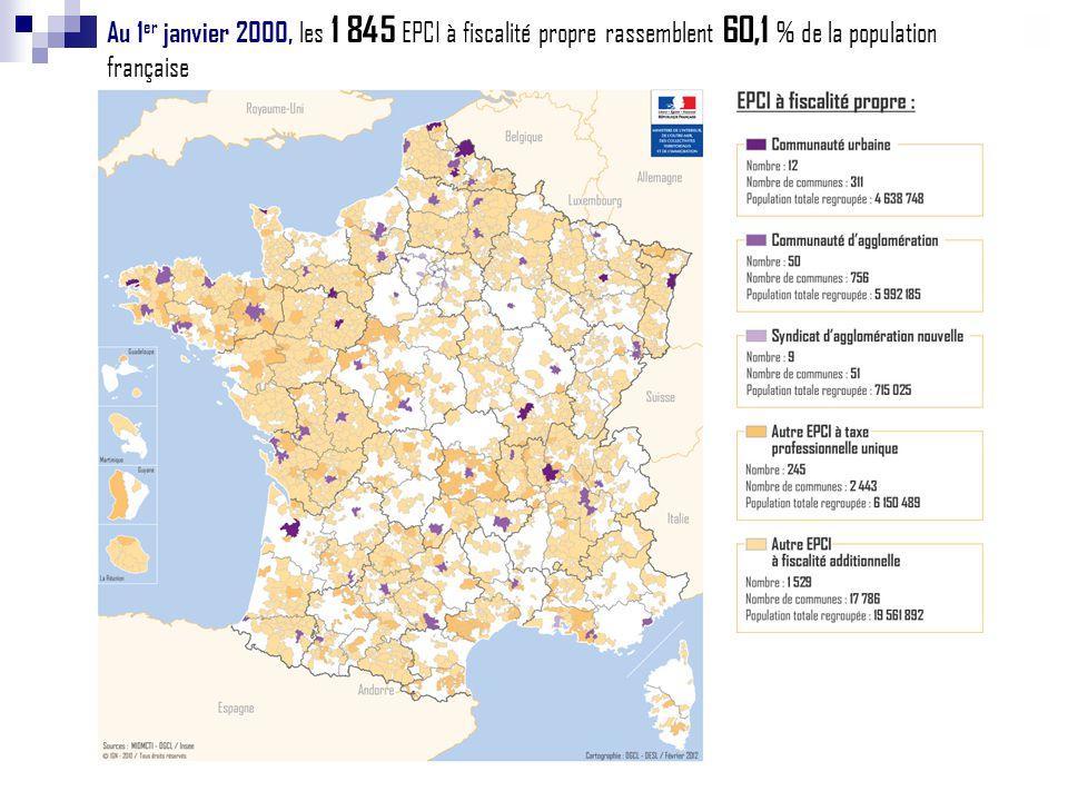 Au 1 er janvier 2001, les 2 000 EPCI à fiscalité propre rassemblent 65,5 % de la population française