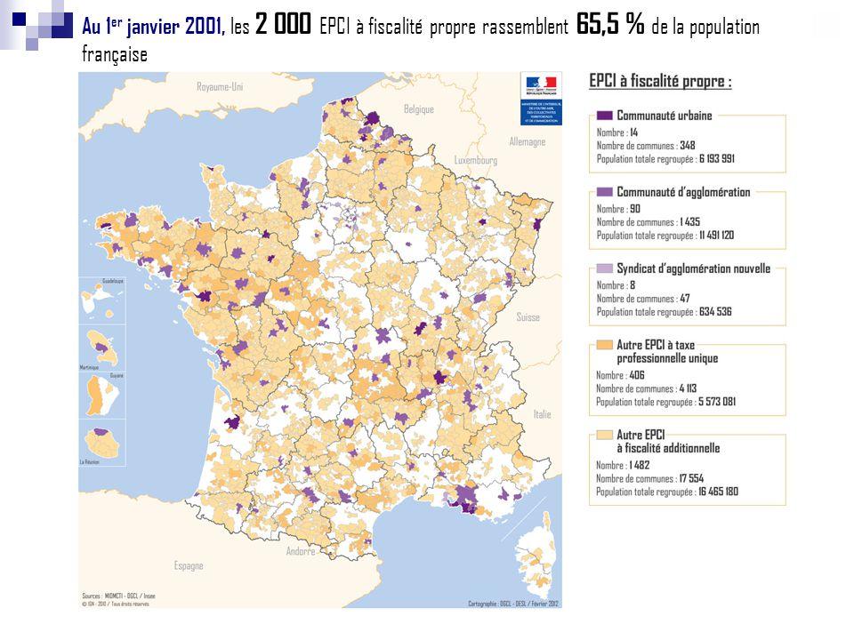 Au 1 er janvier 2012, les 2 581 EPCI à fiscalité propre rassemblent 90,2 % de la population française