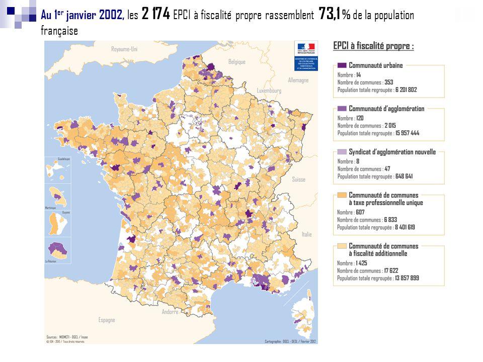 Au 1 er janvier 2002, les 2 174 EPCI à fiscalité propre rassemblent 73,1 % de la population française