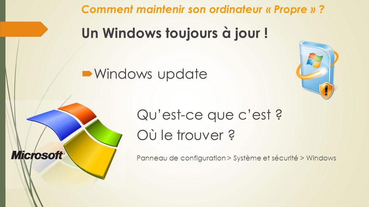 Comment maintenir son ordinateur « Propre » ? Un Windows toujours à jour !  Windows update Qu'est-ce que c'est ? Où le trouver ? Panneau de configura
