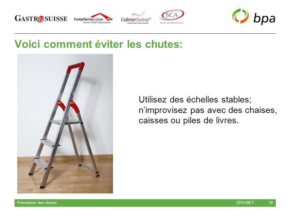 Voici comment éviter les chutes: 2013-BET Prévention des chutes 10 Utilisez des échelles stables; n'improvisez pas avec des chaises, caisses ou piles