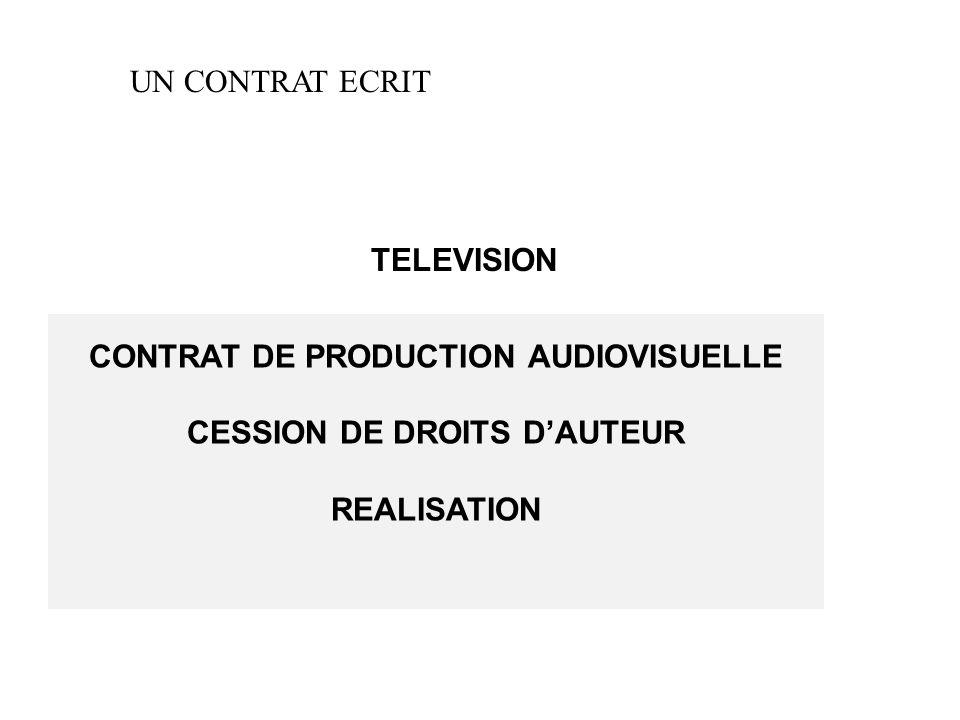 UN CONTRAT ECRIT TELEVISION CONTRAT DE PRODUCTION AUDIOVISUELLE CESSION DE DROITS D'AUTEUR REALISATION