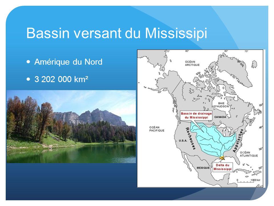 Bassin versant du Mississipi Amérique du Nord 3 202 000 km²