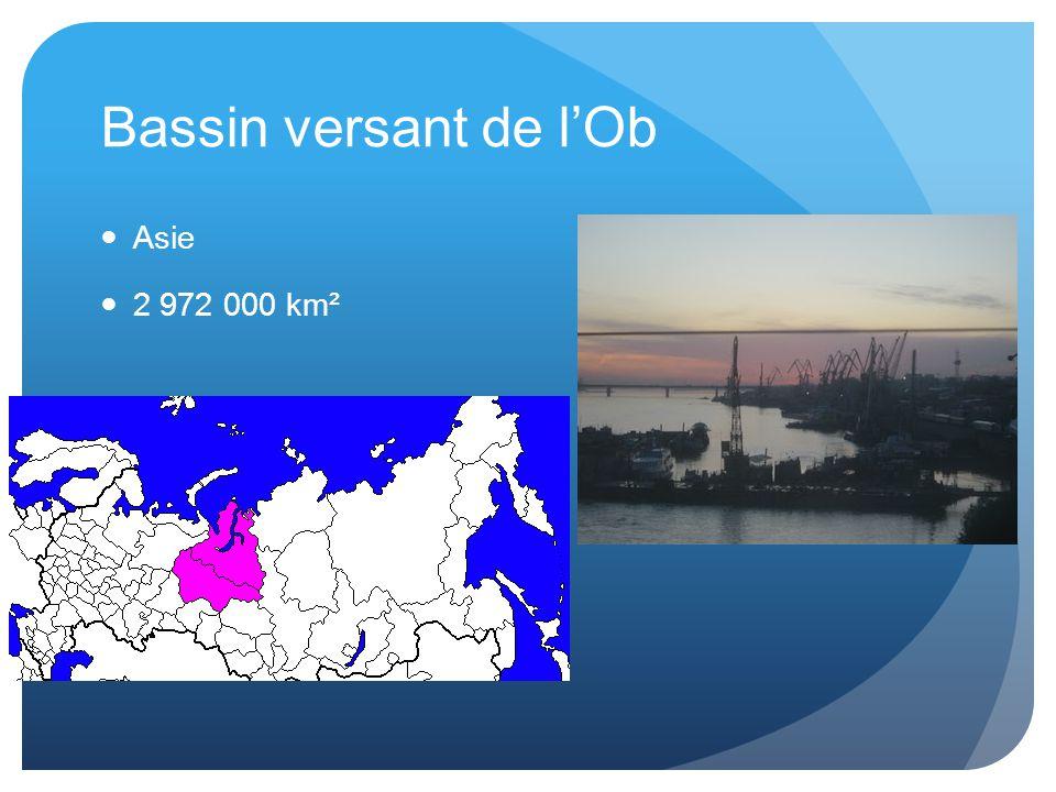 Bassin versant de l'Ob Asie 2 972 000 km²