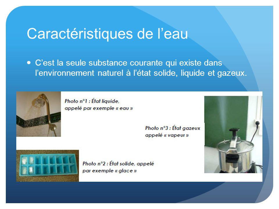 Caractéristiques de l'eau C'est la seule substance courante qui existe dans l'environnement naturel à l'état solide, liquide et gazeux.