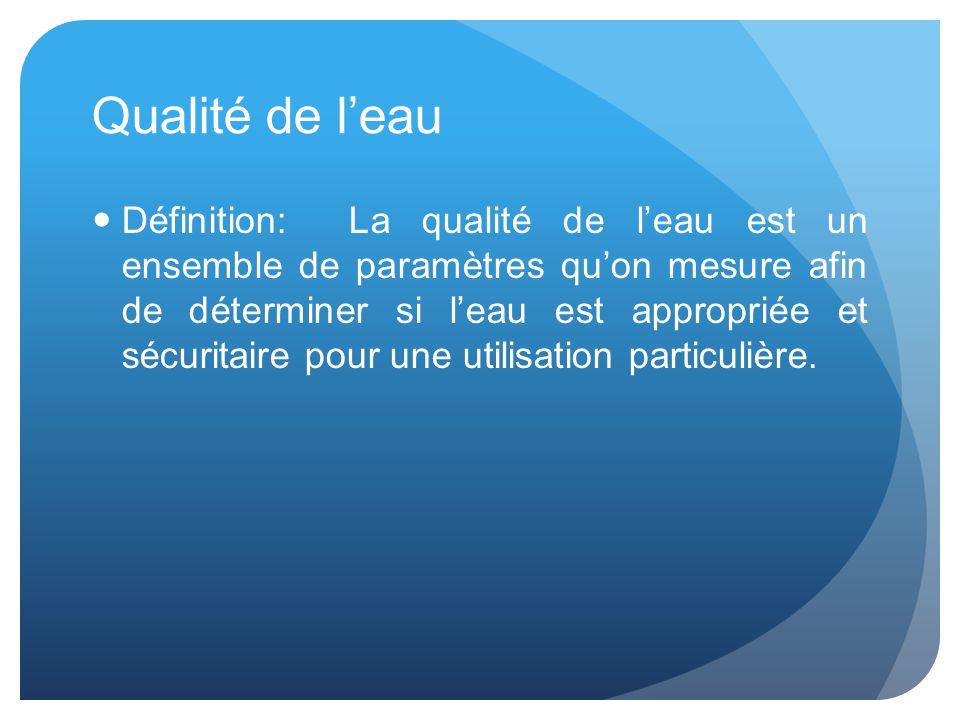 Qualité de l'eau Définition: La qualité de l'eau est un ensemble de paramètres qu'on mesure afin de déterminer si l'eau est appropriée et sécuritaire pour une utilisation particulière.