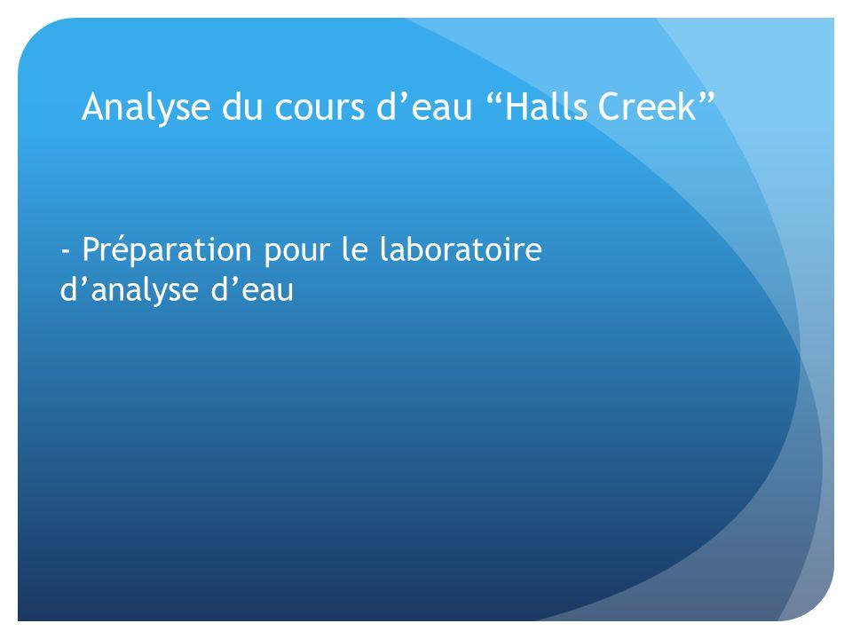 Analyse du cours d'eau Halls Creek - Préparation pour le laboratoire d'analyse d'eau