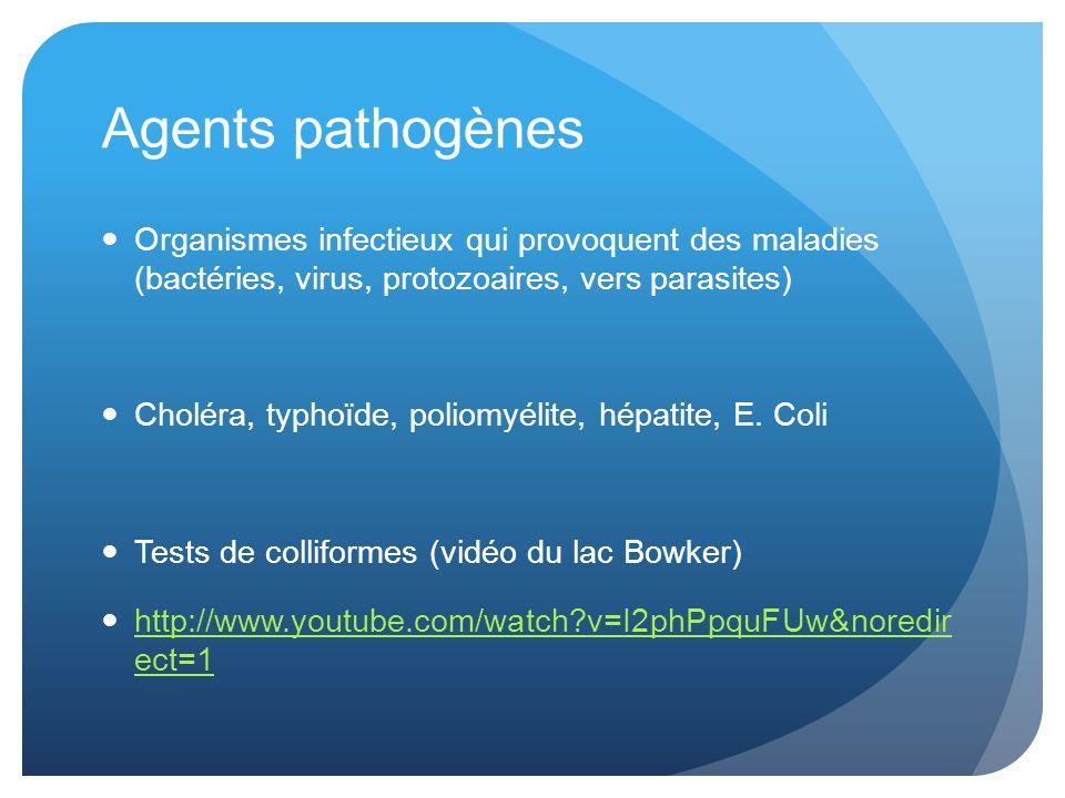 Agents pathogènes Organismes infectieux qui provoquent des maladies (bactéries, virus, protozoaires, vers parasites) Choléra, typhoïde, poliomyélite, hépatite, E.