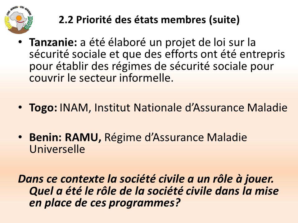 2.2 Priorité des états membres (suite) Tanzanie: a été élaboré un projet de loi sur la sécurité sociale et que des efforts ont été entrepris pour étab