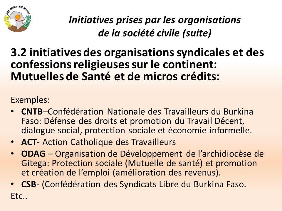 Initiatives prises par les organisations de la société civile (suite) 3.2 initiatives des organisations syndicales et des confessions religieuses sur