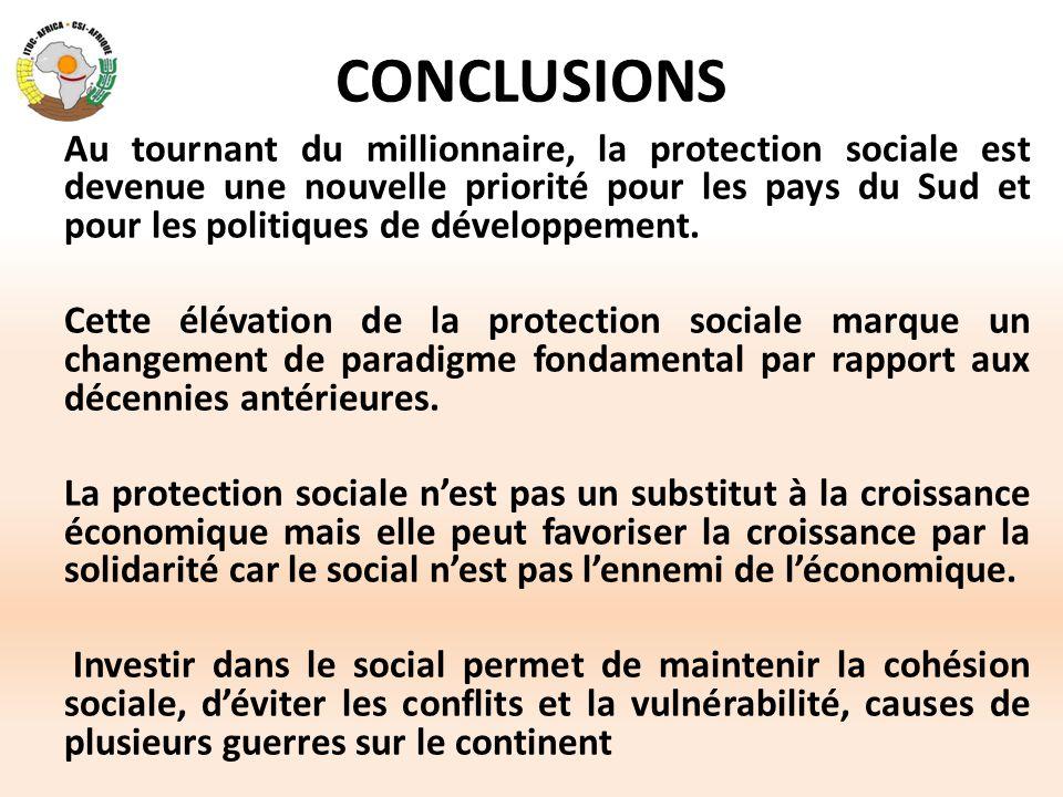 CONCLUSIONS Au tournant du millionnaire, la protection sociale est devenue une nouvelle priorité pour les pays du Sud et pour les politiques de dévelo