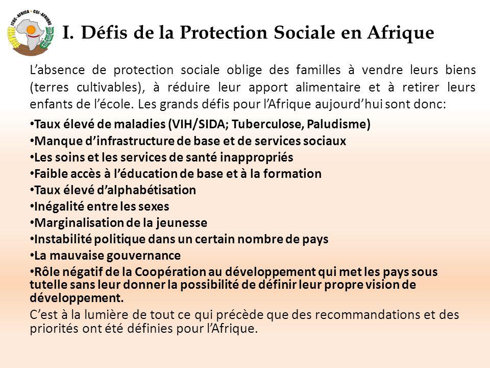 I.Défis de la Protection Sociale en Afrique L'absence de protection sociale oblige des familles à vendre leurs biens (terres cultivables), à réduire l