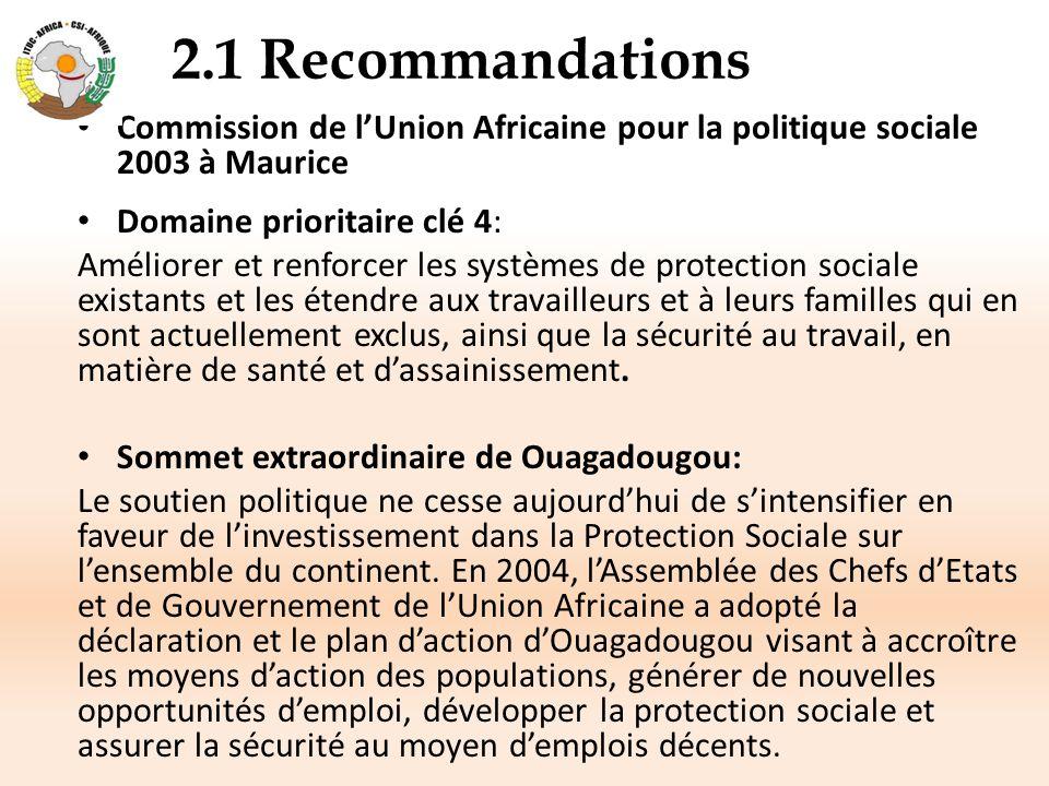 2.1 Recommandations (suite) Appel de Livingstone et de Yaoundé 2006: L'appel de Livingstone souligne que la protection sociale et les transferts sociaux jouent un rôle clé dans la réduction de la pauvreté et la promotion de la croissance.