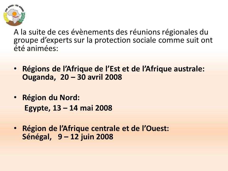 A la suite de ces évènements des réunions régionales du groupe d'experts sur la protection sociale comme suit ont été animées: Régions de l'Afrique de