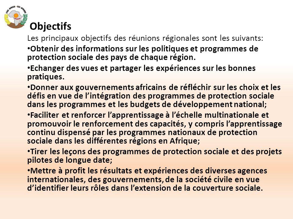 Objectifs Les principaux objectifs des réunions régionales sont les suivants: Obtenir des informations sur les politiques et programmes de protection