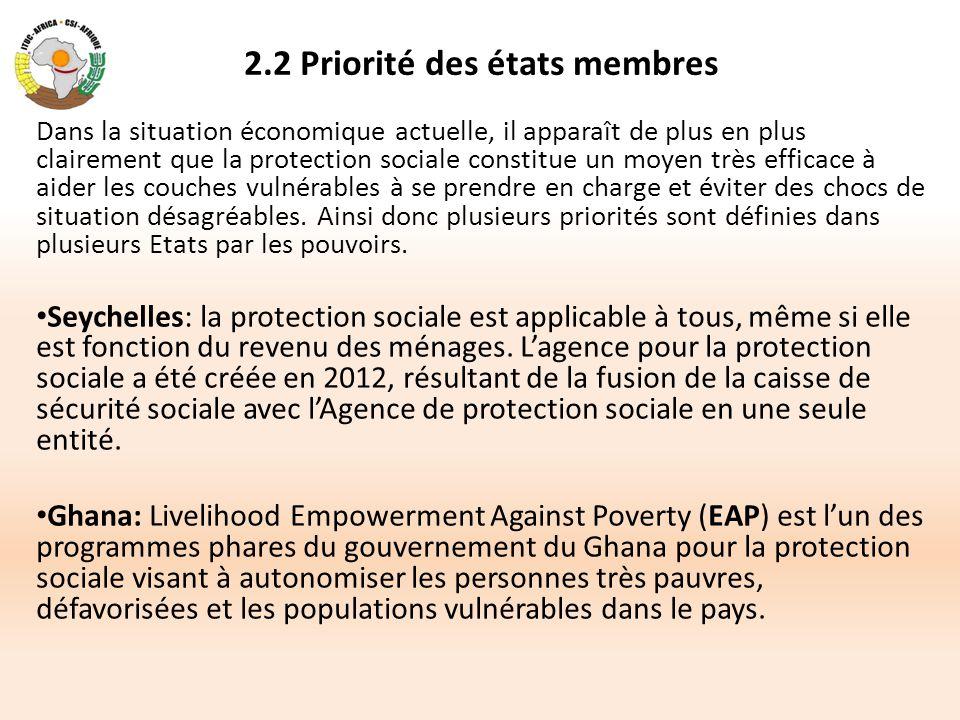 2.2 Priorité des états membres Dans la situation économique actuelle, il apparaît de plus en plus clairement que la protection sociale constitue un mo