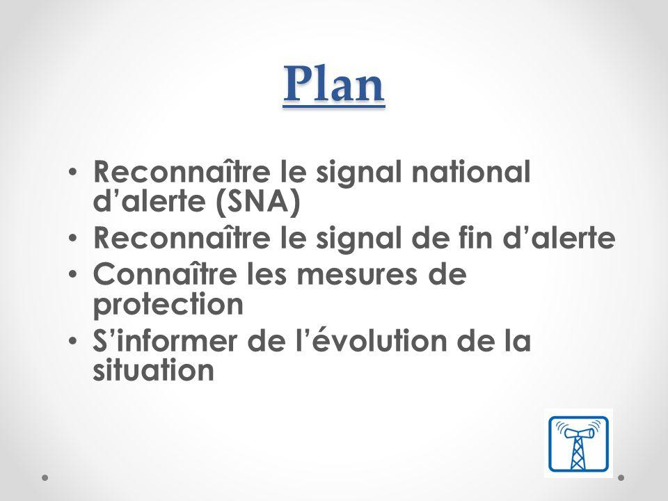 Objectif Etre capable d'identifier un signal national d'alerte et indiquer les principales mesures de protection à prendre