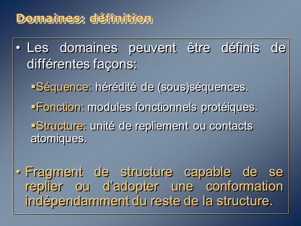 Domaines: définition Les domaines peuvent être définis de différentes façons:   Séquence: hérédité de (sous)séquences.   Fonction: modules fonctio