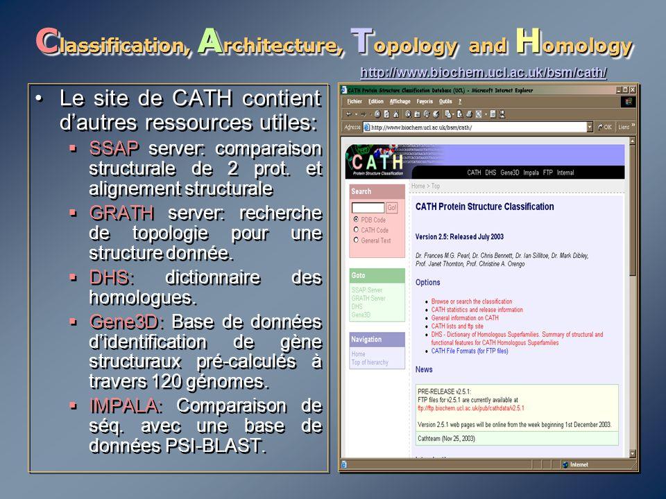 C lassification, A rchitecture, T opology and H omology Le site de CATH contient d'autres ressources utiles:  SSAP server: comparaison structurale de