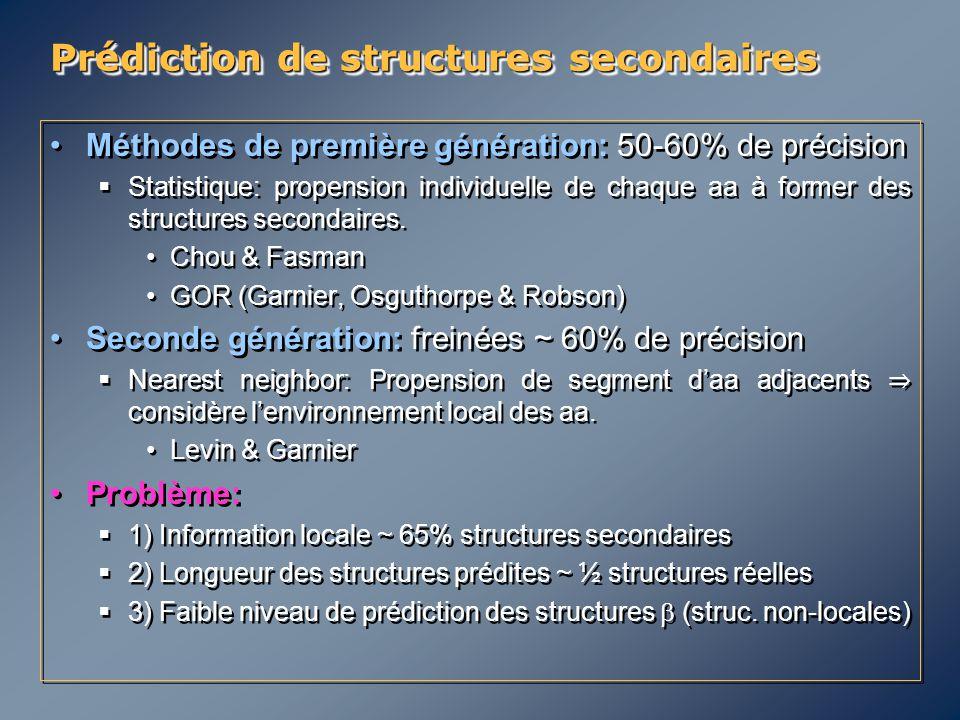 Méthodes de première génération: 50-60% de précision  Statistique: propension individuelle de chaque aa à former des structures secondaires. Chou & F