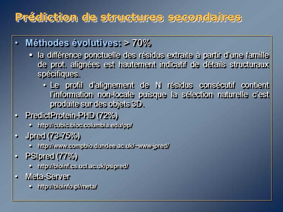 Prédiction de structures secondaires Méthodes évolutives: > 70%Méthodes évolutives: > 70%  la différence ponctuelle des résidus extraite à partir d'u