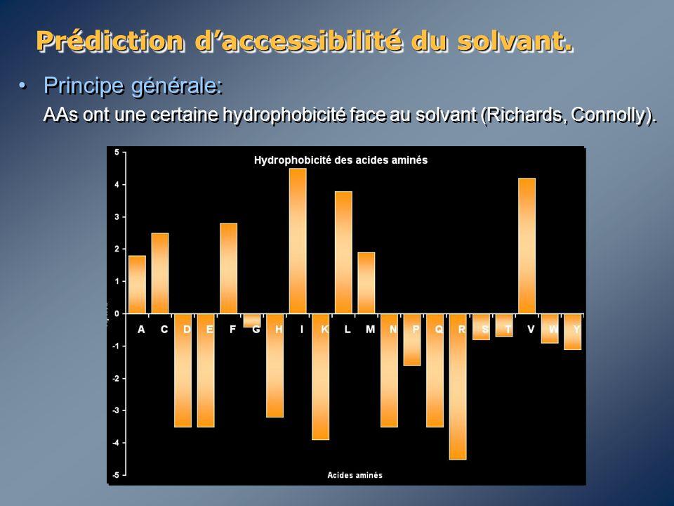 Prédiction d'accessibilité du solvant. Principe générale: AAs ont une certaine hydrophobicité face au solvant (Richards, Connolly). Principe générale: