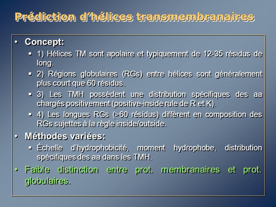 Concept:  1) Hélices TM sont apolaire et typiquement de 12-35 résidus de long.  2) Régions globulaires (RGs) entre hélices sont généralement plus co