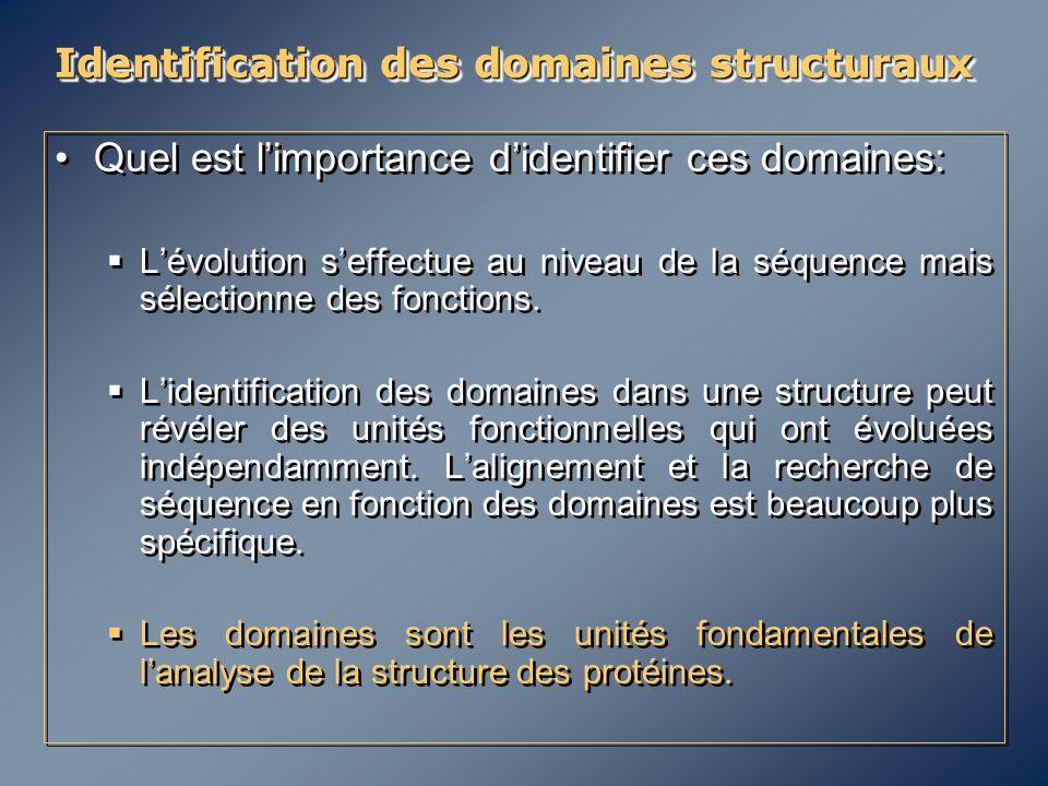 Identification des domaines structuraux Quel est l'importance d'identifier ces domaines:  L'évolution s'effectue au niveau de la séquence mais sélect