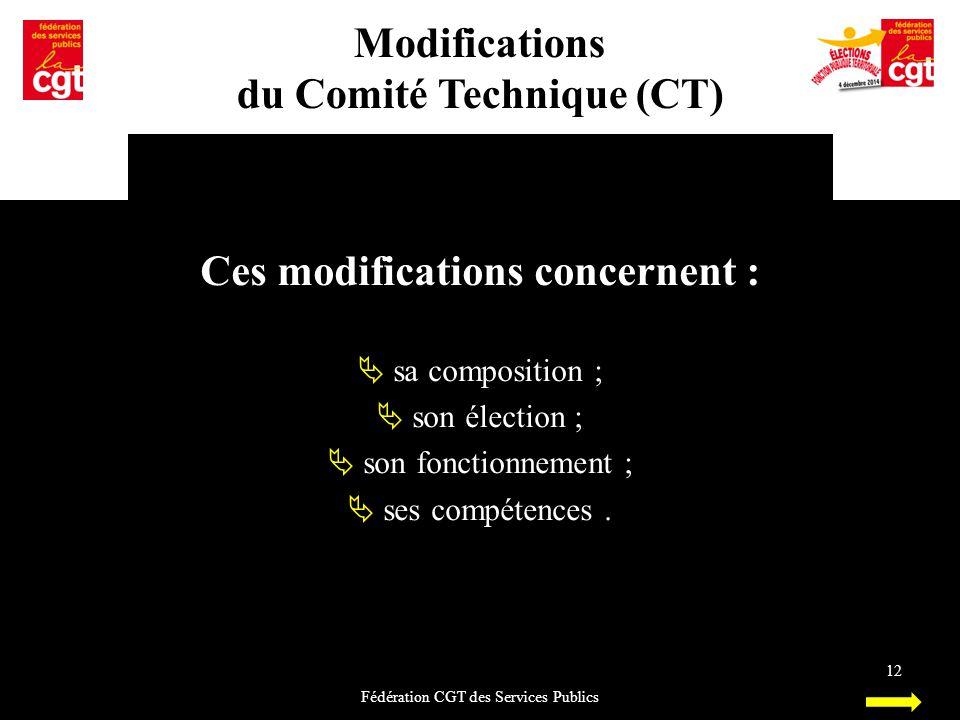 Modifications du Comité Technique (CT) Fédération CGT des Services Publics 12 Ces modifications concernent :  sa composition ;  son élection ;  son
