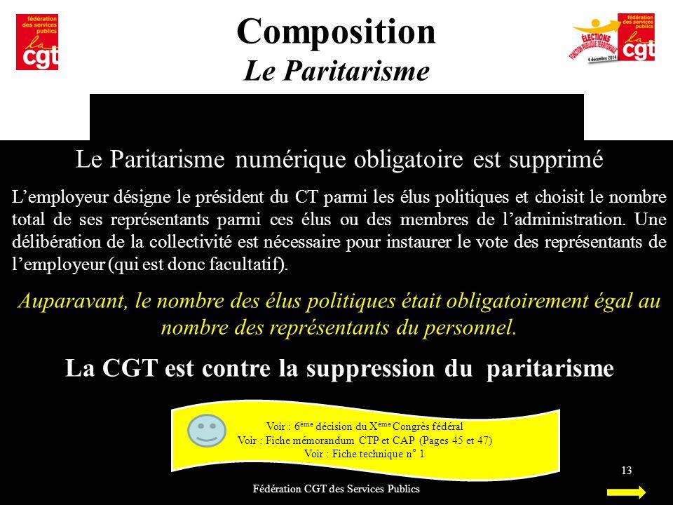 Composition Le Paritarisme Fédération CGT des Services Publics 13 Le Paritarisme numérique obligatoire est supprimé L'employeur désigne le président d