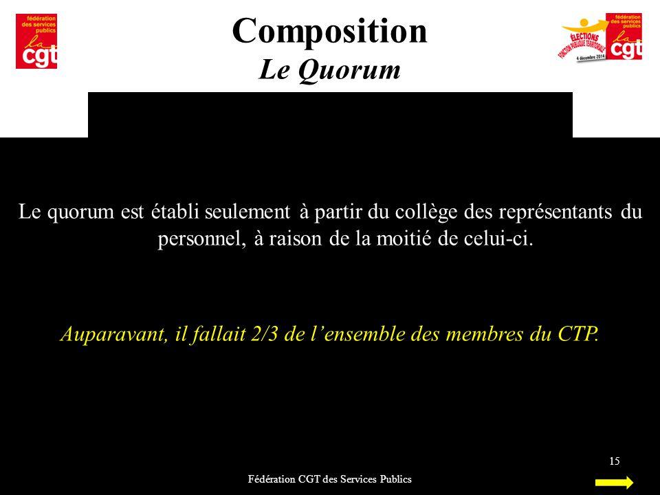 Composition Le Quorum Fédération CGT des Services Publics 15 Le quorum est établi seulement à partir du collège des représentants du personnel, à rais