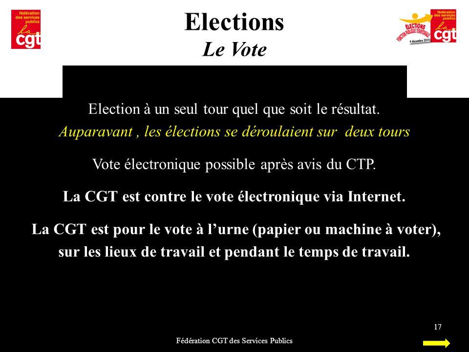 Elections Le Vote Fédération CGT des Services Publics 17 Election à un seul tour quel que soit le résultat. Auparavant, les élections se déroulaient s