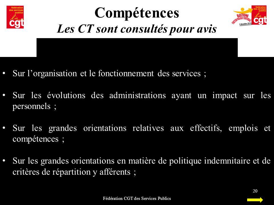 Compétences Les CT sont consultés pour avis Fédération CGT des Services Publics 20 Sur l'organisation et le fonctionnement des services ; Sur les évol