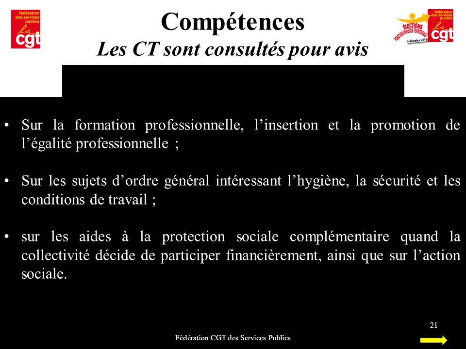 Compétences Les CT sont consultés pour avis Fédération CGT des Services Publics 21 Sur la formation professionnelle, l'insertion et la promotion de l'