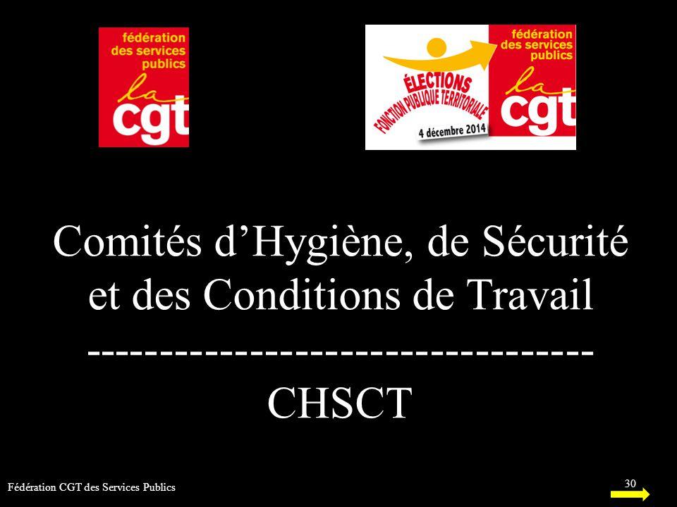 Comités d'Hygiène, de Sécurité et des Conditions de Travail ---------------------------------- CHSCT 30 Fédération CGT des Services Publics