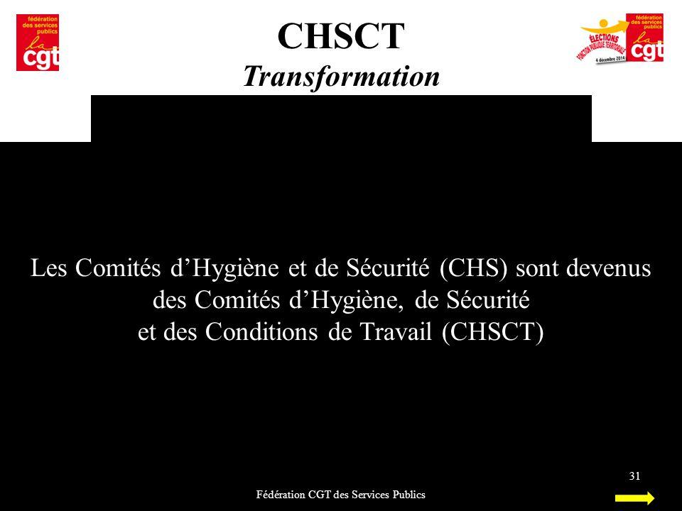 CHSCT Transformation Fédération CGT des Services Publics 31 Les Comités d'Hygiène et de Sécurité (CHS) sont devenus des Comités d'Hygiène, de Sécurité