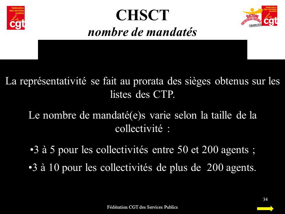 CHSCT nombre de mandatés Fédération CGT des Services Publics 34 La représentativité se fait au prorata des sièges obtenus sur les listes des CTP. Le n