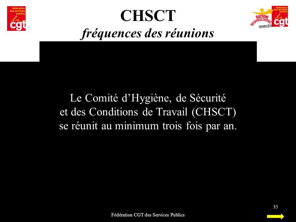 CHSCT fréquences des réunions Fédération CGT des Services Publics 35 Le Comité d'Hygiène, de Sécurité et des Conditions de Travail (CHSCT) se réunit a