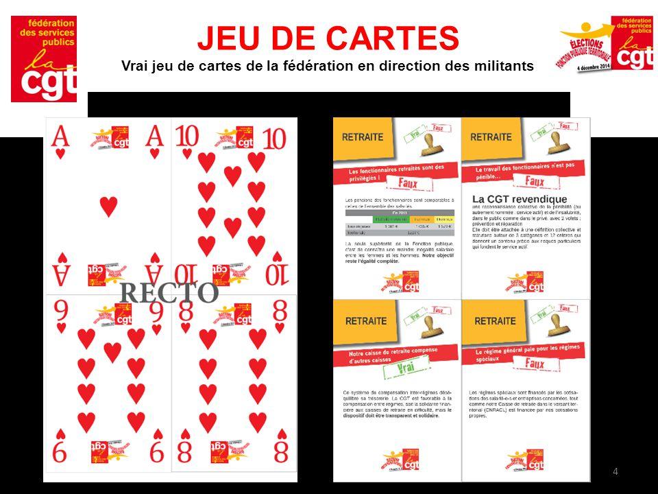 4 JEU DE CARTES Vrai jeu de cartes de la fédération en direction des militants